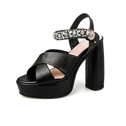 W&LM Femmina Tacchi alti sandali impermeabile piattaforma originale Tacchi alti Strass sandali scarpe casual Black