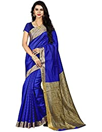 Sarees For Women Sarees New Collection Sarees For Women Latest Design Women's Blue Cotton Silk Saree With Blouse...