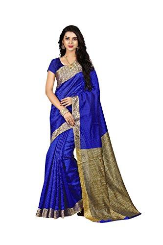 Sarees For Women Sarees New Collection Sarees For Women Latest Design Women's Blue Cotton Silk Saree With Blouse...