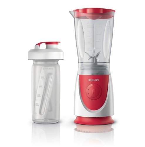 Philips HR2872/00 - Minibatidora Daily Collection 350 W, capacidad de la jarra 0,6l, botella portátil (0.6l), color rojo