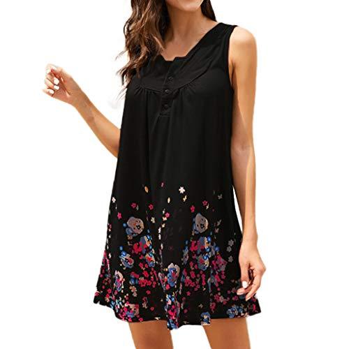 Sonojie Summer New Print Damen Minikleid Rundhals Ärmelloses Kleid