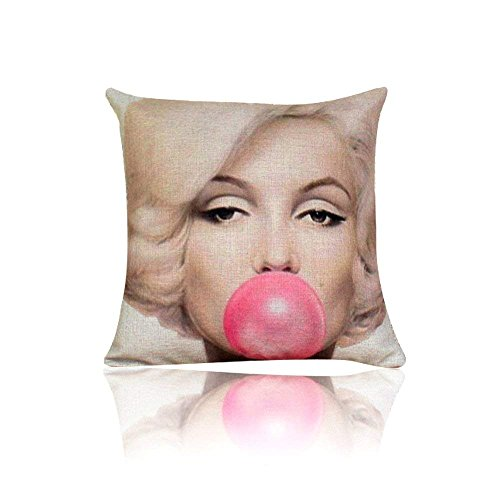 Trsdshorts Throw Pillow Cover Cushion Case, Audrey Hepburn and Marilyn Monroe with Bubble Blue and Pink (Monroe)
