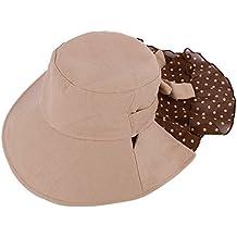 millya Mujer Verano UV400gorro para el sol disquetera gorro de playa plegable con correa de cuello, niña mujer, caqui