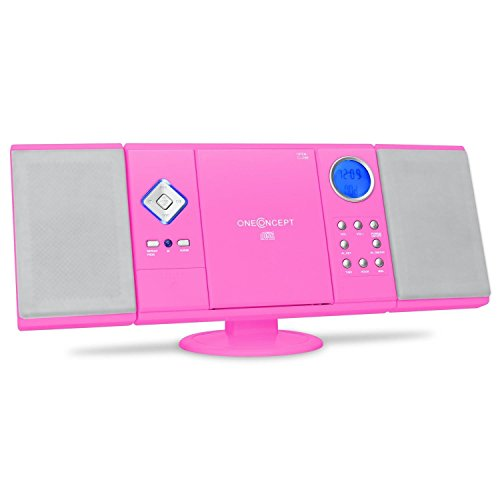 oneConcept V-12 Impianto Stereo HiFi mini (radio FM, lettore CD, lettore MP3, ingressi USB e SD, ingresso Aux, display LCD) - pink