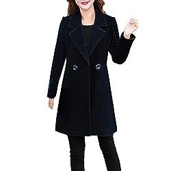 VEMOW Herbst Winter Elegante Damen Cashmere-Like Dicker Jacke Outwear Parka Cardigan Casual Täglichen Business Schlank Mantel(Schwarz, 40 DE/L CN)