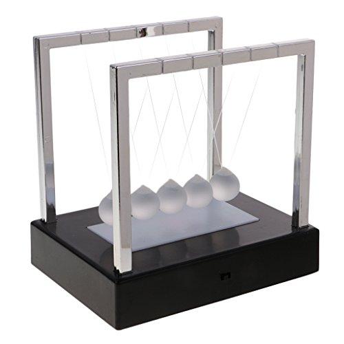 Sharplace Newtonpendel Kugelstosspendel Kugelpendel mit Sockel - LED Bunte Licht - Geschenk für Freunde und Familie - Schwarz