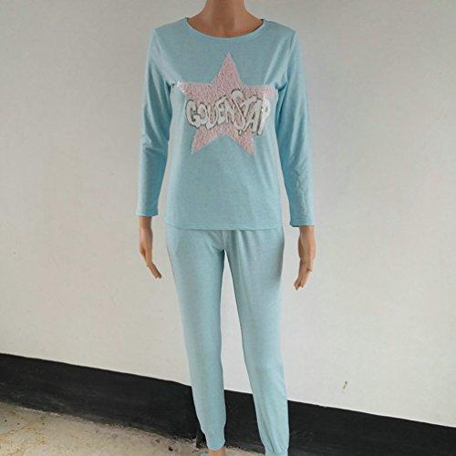 ZKOO Tuta Da Ginnastica Set Donna 2 Pezzi Stella Paillettes Felpa Pullover + Jogging Pantaloni Sportivo Tuta Lago Blu