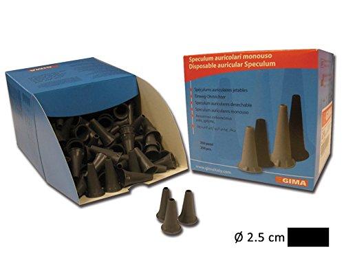 GiMa Einweg Mini Ohr Spekulum 2,5mm-schwarz-voll kompatibel mit Mini Serie von Heine, Kawe, Riester, GiMa und andere Marken-250Stück Pcs -