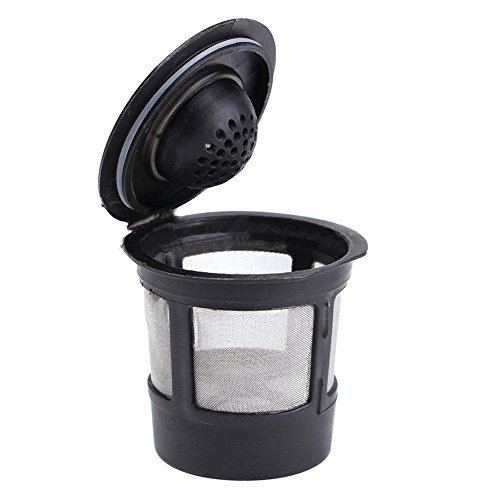 SODIAL(R) Reusable Single Cup For Keurig Solo Filter Pod K-Cup Coffee Stainless Mesh Black Pattern:1 Pc