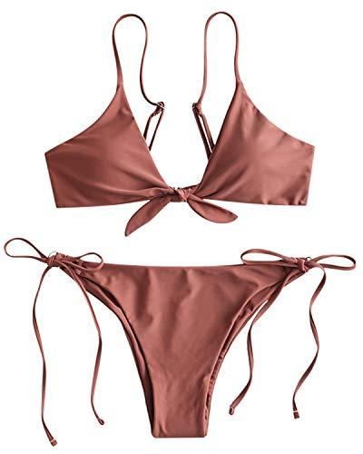 ZAFUL Bikini Set Geknotete Bikinis mit Spaghettiträger Triangel Einfarbiges Badeanzug Bikini-Set Swimsuit Beachwear Swimwear Bademode Dunkel RosaMedium