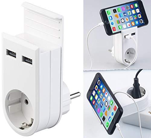 revolt USB Zwischenstecker: Steckdose mit Doppel-USB-Netzteil & Smartphone-Ablage, 3,4 A/ 17 Watt (Smartphone Ladestation)