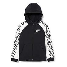 Nike Sportswear, Felpa con Cappuccio E Zip A Tutta Lunghezza Unisex Bambini, Black/White/White, S