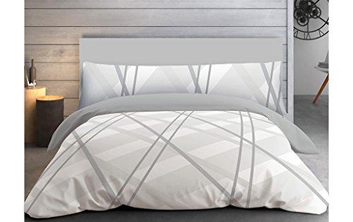 """ADP Home - Funda nórdica, juego de 3 piezas """"Scandi"""" (funda de almohada, bajera ajustable y funda nórdica) para cama de 150 cm"""