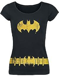 Batman Costume Camiseta Mujer Negro