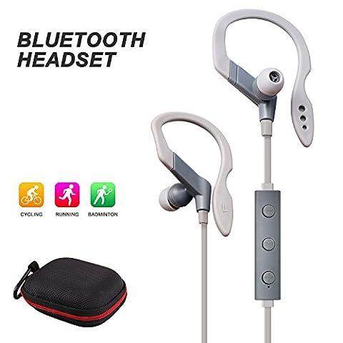 Quntis® Bluetooth Kopfhörer Sport Headset Ohrhörer In-Ear Schallschutz für Sport, Laufen, Fahren, Wandeln, Bergsteigen, für iPhone 7 Plus 7 6s 6s Plus 6 6 Plus SE 5 5c 5s, Samsung Galaxy S6 Edge S6, Android Phones, Bluetooth Smart TV, usw (Grau)