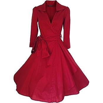 iHAIPI - Damen Retro Vintage Kleid Abend Party 50er Jahre Stil Rockabilly / Sommerkleid/Cocktailkleid (02. EU 36 (Herstellergröße:S), 06. Rote)
