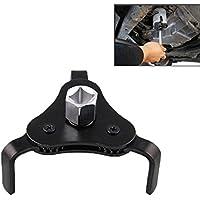 Lanyifang Llave de Filtro Auto Negro Aleación de Aluminio Llave Universal de Filtro de Aceite Auto Ajustable 3 Jaw Remover Herramienta 1/2 3/8
