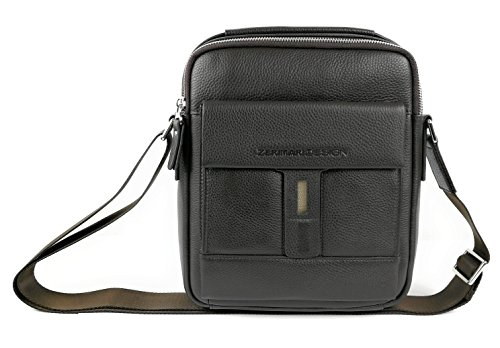 Zerimar Bolso Bandolera de Cuero para Hombre Bolso de Hombro con gran capacidad Piel suave Color marron Medidas: 27x23x8 cms.