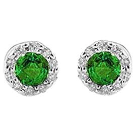 fd26170f86 Taglio rotondo, colore verde smeraldo naturale con diamanti Halo orecchini  in oro bianco 14 kt 585 massiccio