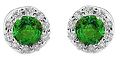 Taglio rotondo, colore verde smeraldo naturale con diamanti Halo orecchini in oro bianco 14kt 585massiccio e Oro bianco, colore: White, cod. UK-M-CMEJWU161-WG