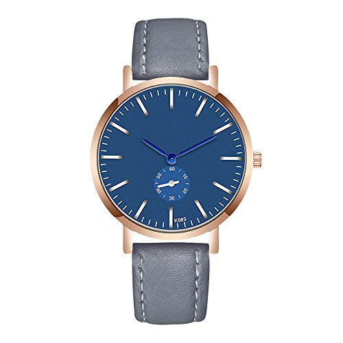 Bellelove Montre de mode pour homme cristal en acier inoxydable cuir analogique quartz verre charme travail bussiness montre-bracelet