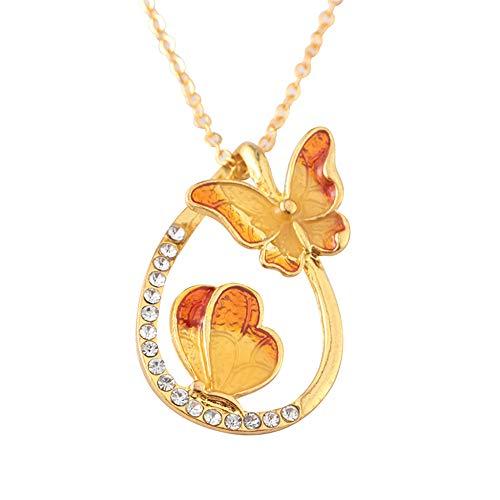 ODJOY-FAN 6g Bunt Schmetterling Diamant Halskette Wasser Fallen Geformt Anhänger Schlüsselbein...