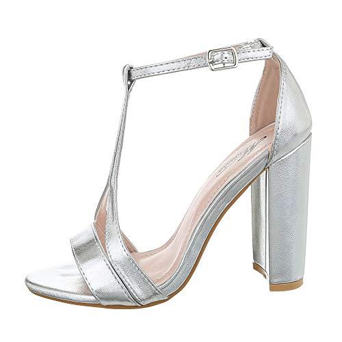 Ital-Design Damenschuhe Sandalen & Sandaletten High Heel Sandaletten Synthetik Silber Gr. 39 Silber Heels