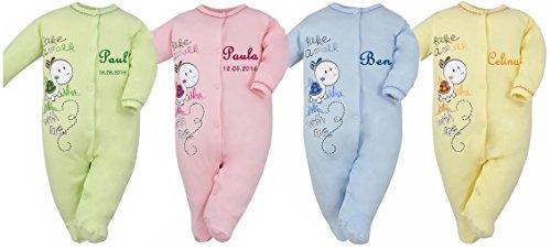 Baby Einteiler Schildkröte mit Namen bestickt (Schlafanzug Bestickte)
