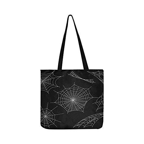 Schwarze Spinnen Und Gebrochene Netze Leinwand Tote Handtasche Schultertasche Crossbody Taschen Geldbörsen Für Männer Und Frauen Einkaufstasche