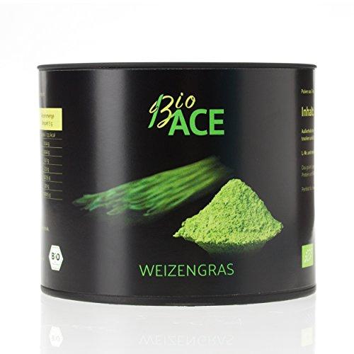 BioACE Bio Weizengras - Anbau in Deutschland - Laborgeprüft und Analysiert - 100% Rohkostqualität (125 Gramm) -