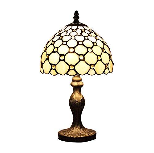 AIFUDE 8-Zoll-Retro Minimalist Tiffany-Lampen-wei?es Glas mit Perlen Handgefertigte Tiffany-Lampe für Bar, Restaurant, Schlafzimmer