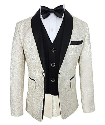 Jungen Bestickt Stil in Einem Smoking Anzug in Creme Alter 12 Jahre