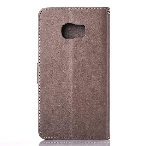 Custodia Galaxy S7 Edge, ISAKEN Flip Cover per Samsung Galaxy S7 Edge con Strap, Elegante Bookstyle Contrasto Collare PU Pelle Case Cover Protettiva Flip Portafoglio Custodia Protezione Caso con Suppo Grigio