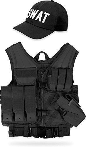 normani Set aus taktischer Einsatz Weste USMC, Lochkoppel und Cap FBI, SWAT, Police, Security Farbe Schwarz (Günstige Swat Weste Kostüm)