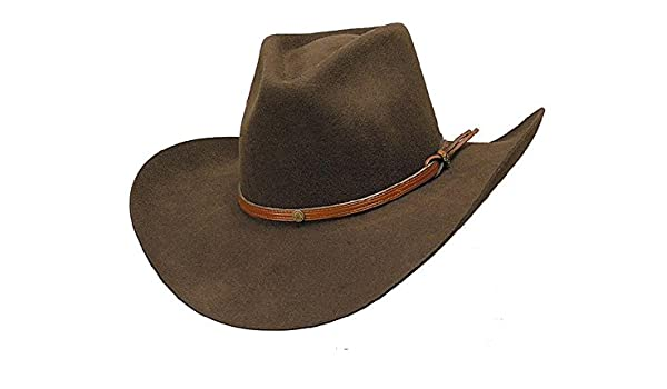 e1a7a0f6f15 Sunrise Outlet Brown Wool Raw Edge Lined Renegade Hat with Brown Leather  Band  Amazon.fr  Vêtements et accessoires