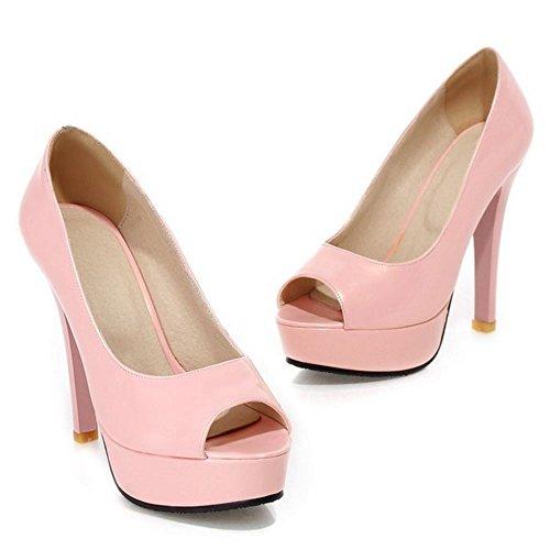 COOLCEPT Femmes Mode Slip On Court Chaussures Confortable Peet Toe Talon Aiguille Chaussures Rose