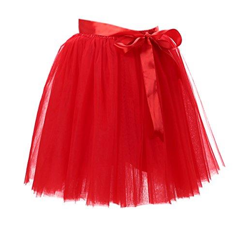 Honeystore Damen's Rock Tutu Tütü Petticoat Tüllrock 7 Schichten mit Gummizug für Karneval, Party und Hochzeit Rot One (Kostüme Ebay Vintage Halloween)