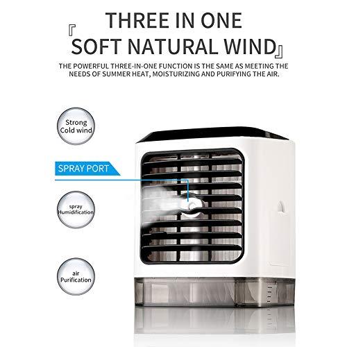 YGTMV Tragbarer Luftkühler, 3 in 1 Professionelle Mini-Klimaanlage Luftbefeuchter, 3 Geschwindigkeiten Desktop-Luftkühler USB-Luftkühler Luft, für Home Room Office Kühlwerkzeug