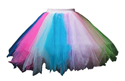 Honeystore Damen's Tutu Unterkleid Rock Abschlussball Abend Gelegenheit Zubehör Blau Fuchsie Grün und Violett (Halloween Zubehör Bei Ebay)