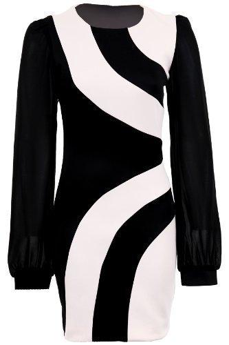 Fantasia - Damen Kleid Chiffon Langäremlig Kontrastfarben Paneele Figurbetont Creme