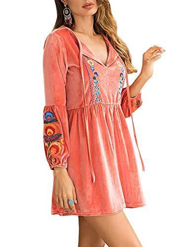 FUTURINO Damen Sommerkleid Bohemian Stickerei Floral Tunika Shift Bluse Flowy Minikleid (S, Hell Rosa) (Mädchen Shift Kleider)
