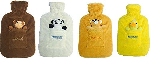 Hot Water Bottle with Soft Fleece Cover  Orange Teddy
