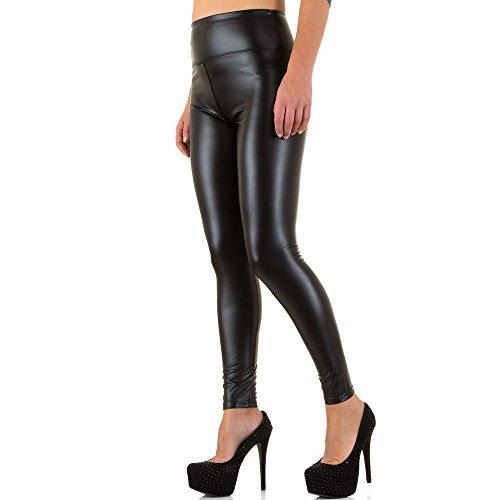 Lederoptik High Waist Skinny Hose Für Damen bei Ital-Design Schwarz