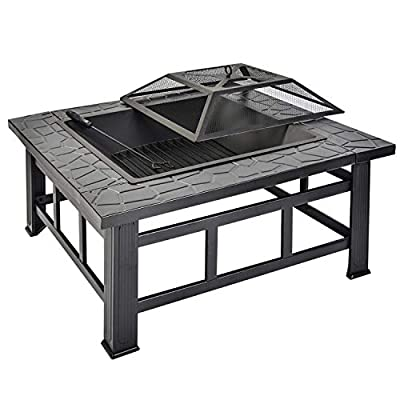 Leisure Zone Outdoor Large Fire Pit For Garden And Patio Upgrade Black Steel Garden Heaterburner For Wood Charcoal Includes Spark Guard Poker And Protective Cover Square Fire Pit by Leisure Zone