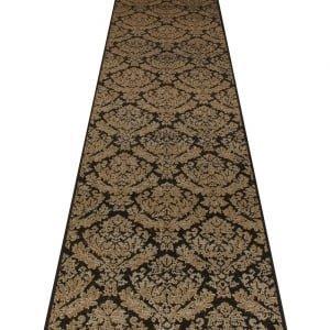 Carpet Runners UK Damast Schwarz–Hall, Treppe Teppich Läufer (erhältlich in jede Länge bis 30m) (Läufer Ft 9 L Schwarz)