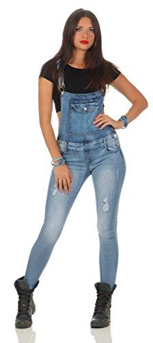5068 Fashion4Young Damen Jeans Latzhose Röhrenjeans Latzjeans Slimline Damenlatzhose (L=40, blau)
