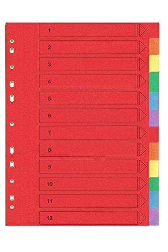 United® Office Kartonregister 1 x12 Trennblätter Made in Germany Bunt