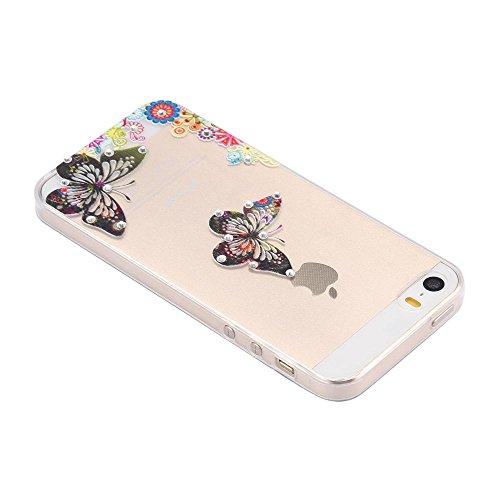 ECENCE Apple iPhone 5 5S Coque de protection housse case cover transparent 21010204 Papillon