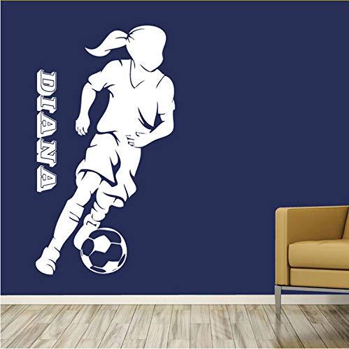 (Kyzaaa Benutzerdefinierte Namen Fußball Spieler Kleines Mädchen Personalisiert Jeder Name Schlafzimmer Kunst Wandbild Aufkleber Aufkleber Vinyl Removable)