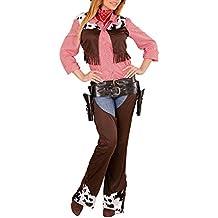 Widmann 02892–Adultos Disfraz Cowgirl, chaleco, Chaps Y Cinturón, color marrón, tamaño M